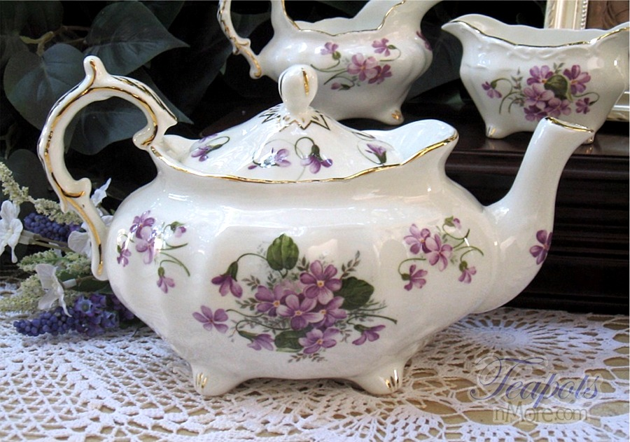 Heirloom Elizabeth Grey Violets Bone China 6 Cup Teapots